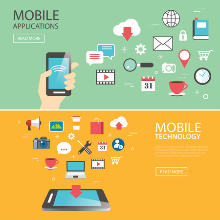 mobile application technology banner template flat design Illustration