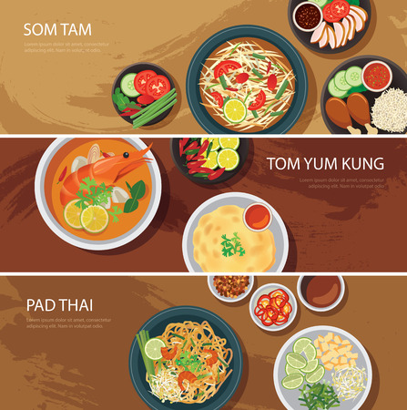 food illustration: thai food web banner flat design.som tam, tom yum kung,pad thai