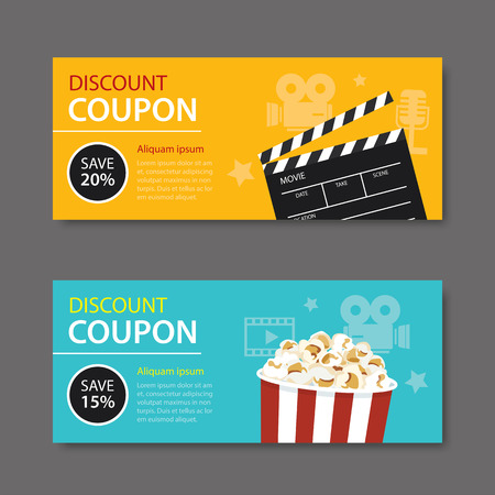 film industry: movie coupon flat design