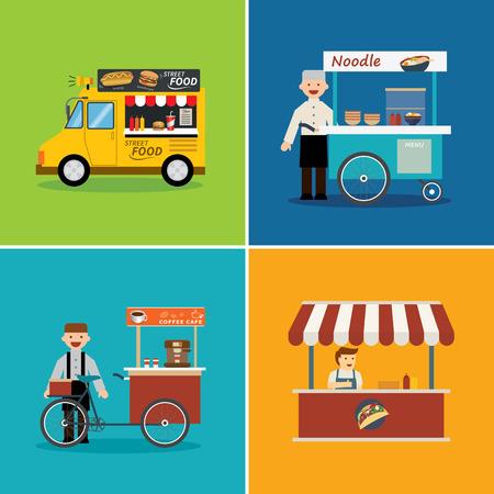 vendedor: calle de la tienda de alimentos diseño plano Vectores