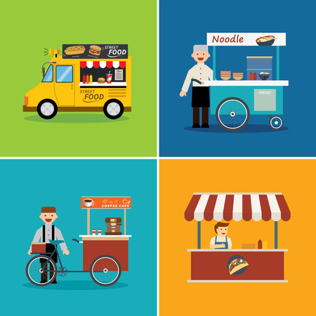 street vendor: street food shop flat design Illustration