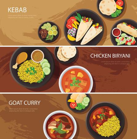 할랄 음식 웹 배너 평면 디자인, 케밥, 치킨 나르, 비르 야니, 염소 카레
