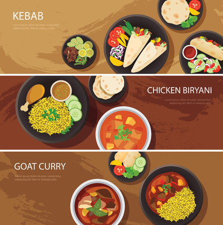 cooked rice: halal food web banner flat design , kebab, chicken biryani, goat curry Illustration
