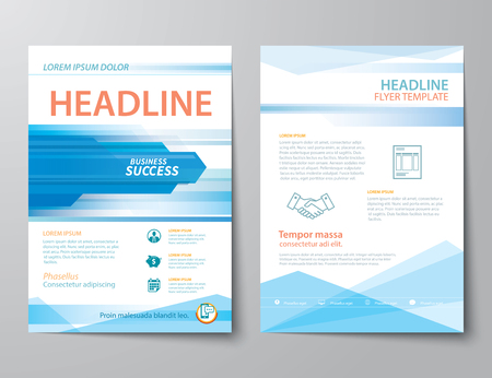 annual report: set of business magazine cover , flyer, brochure flat design templates
