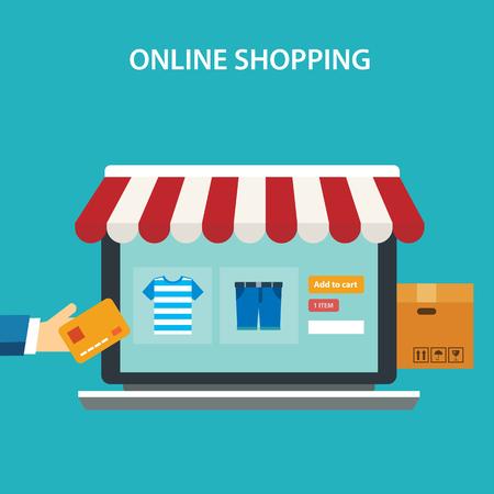 コンセプト フラット デザインのオンライン ショッピング