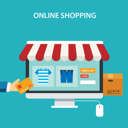 shopping: concepto de compras en línea diseño plano