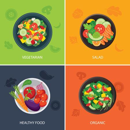 étel: ételek internetes banner lapos kialakítás. vegetáriánus, bio élelmiszer, egészséges étel