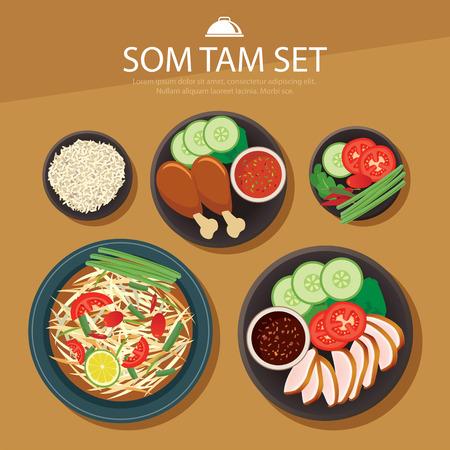 rice and beans: papaya salad, som tam thai food flat design