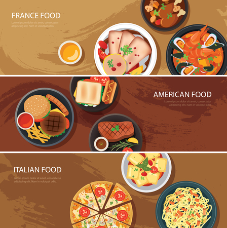 Set of food web banner flat design.France food,American food, Italian food