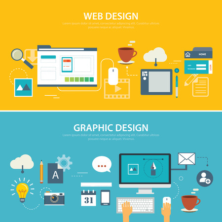 web template: web and graphic banner flat design
