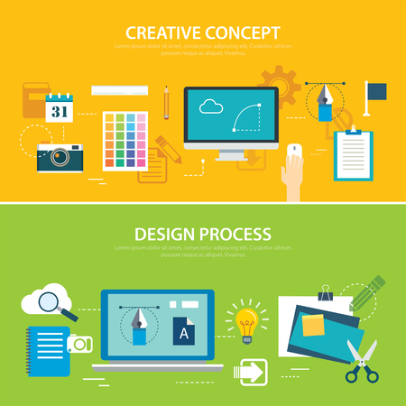 website backgrounds: design process and creative concept banner flat design