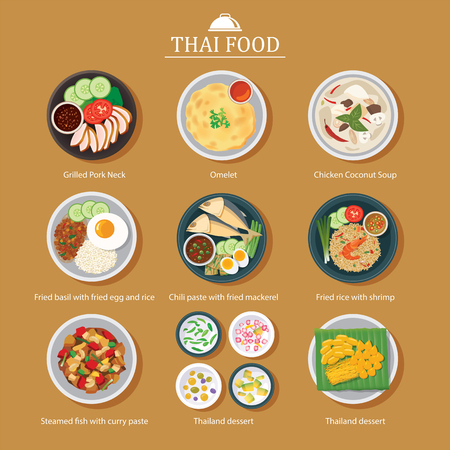 fried shrimp: vector set of thai food flat design