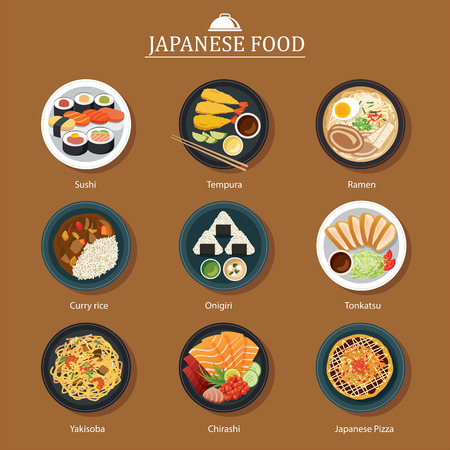 set of japanese food flat design 免版税图像 - 48482910