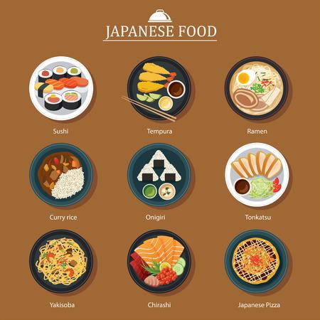 comida japonesa: un conjunto de diseño plano comida japonesa