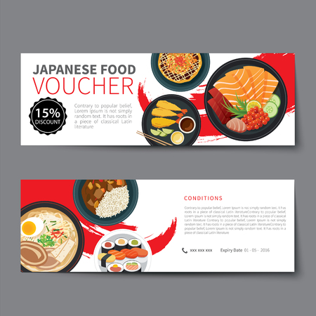 comida japonesa: diseño plano plantilla de descuento vale de comida japonesa