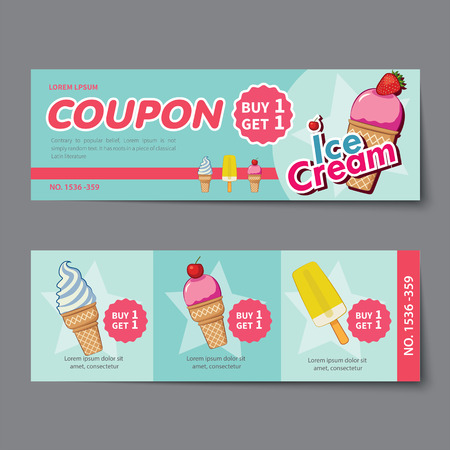 ice cream coupon discount template flat design Illustration
