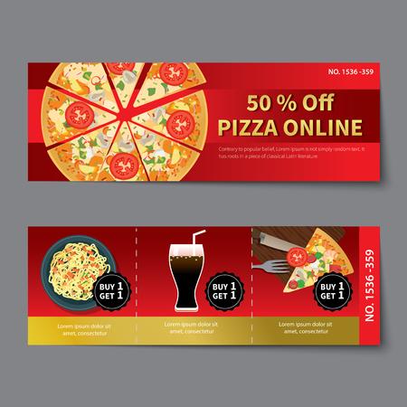 pizza: plantilla de descuento de pizza cupón diseño plano
