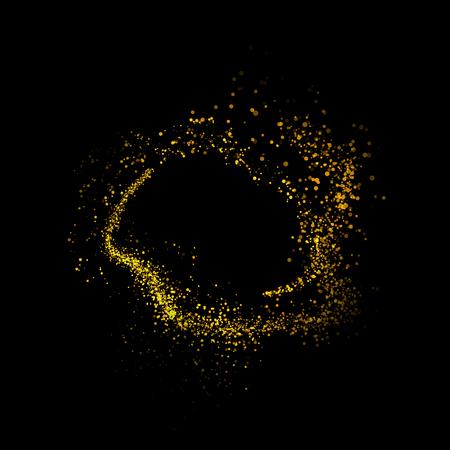 star trail: gold glittering bokeh stars dust tail