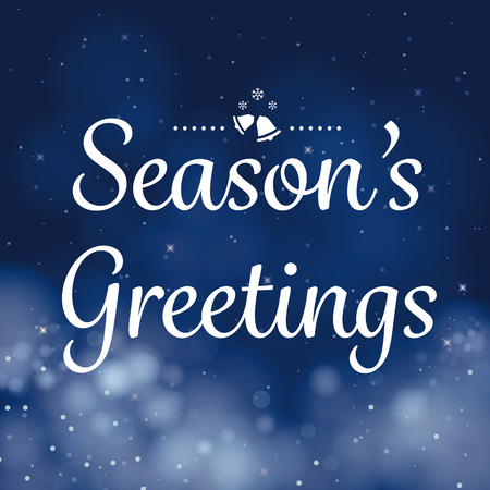 greetings from: seasons greetings calligraphy card vector design