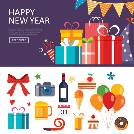 Biglietto di auguri del biglietto di regalo di nuovo anno felice disegno piatto Vettoriali