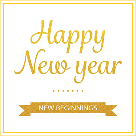 year greetings: vector gold happy new year greetings card Illustration