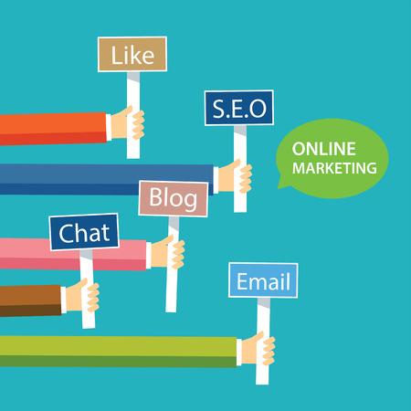 marketing online: online marketing concept flat design