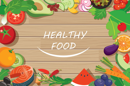 kitchen table top: healthy food frame on wood table