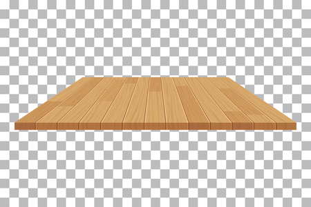 perspective: vector wood table top on isolated background