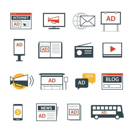 icono de los medios de publicidad diseño plano