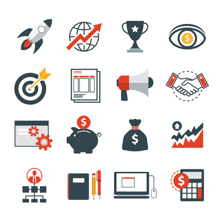 set up: startup business icon flat design Illustration