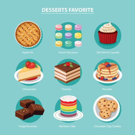 vector desserts favoriete set plat ontwerp