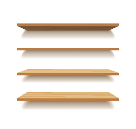empty wooden shelf isolated background Vettoriali