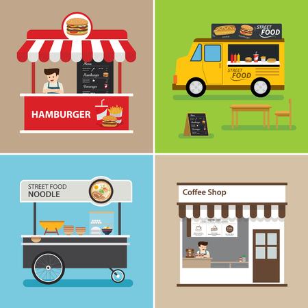 street food shop flat design Vettoriali