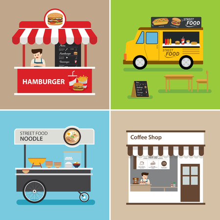 street food shop flat design Çizim