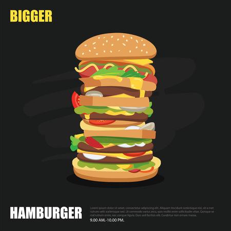 ad: big hamburger on chalkboard background flat design