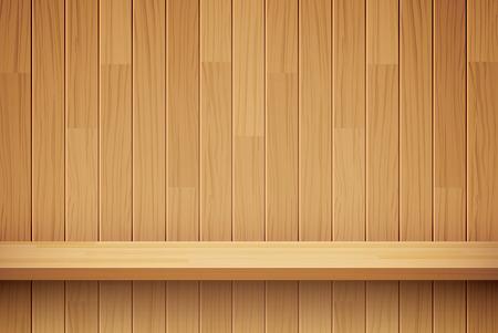 plank: empty wooden shelf background Illustration