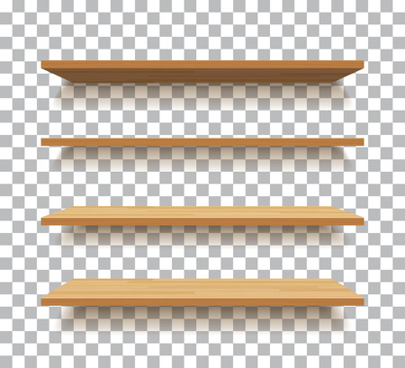 empty wooden shelf isolated background Ilustrace