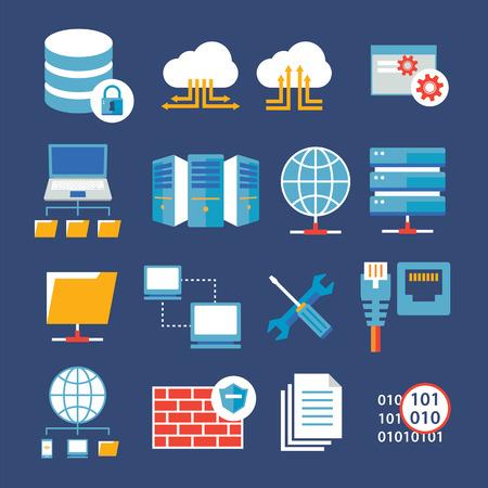 red informatica: red informática y el icono de la base de datos plana Vectores