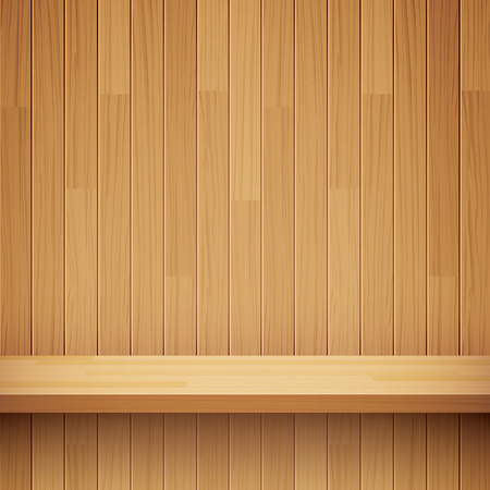 wooden shelf: empty wooden shelf background Illustration