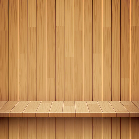 books on a wooden surface: empty wooden shelf background Illustration