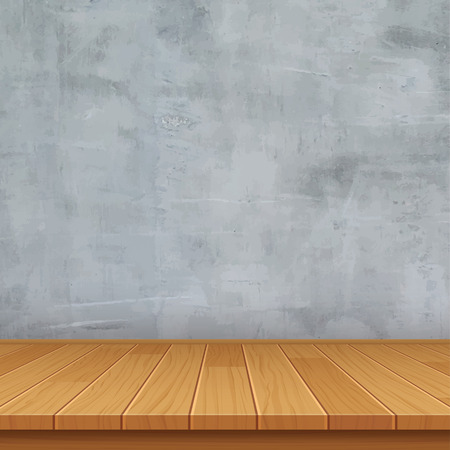 stone floor: empty room with concrete wall and wooden floor