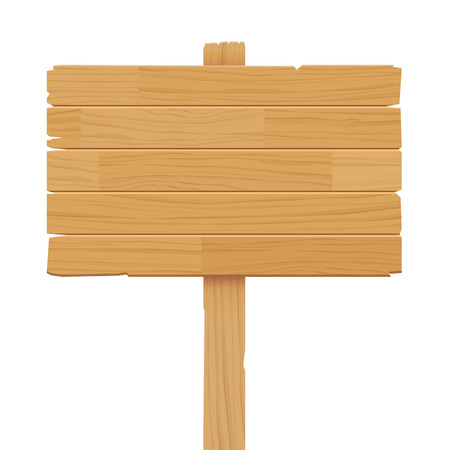 wooden sign isolated on white background 向量圖像