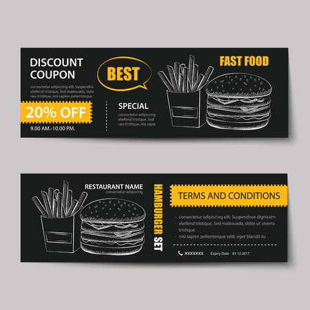 vintage card: fast food coupon discount template flat design