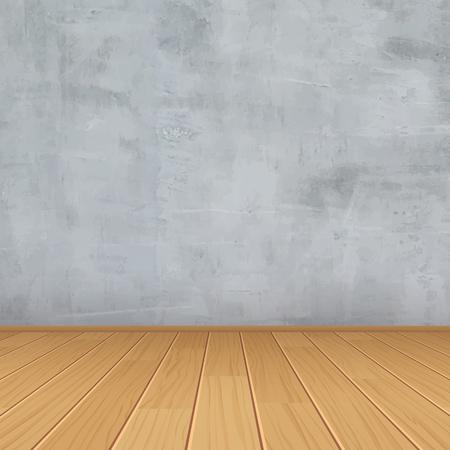 salle vide avec mur de béton et plancher en bois