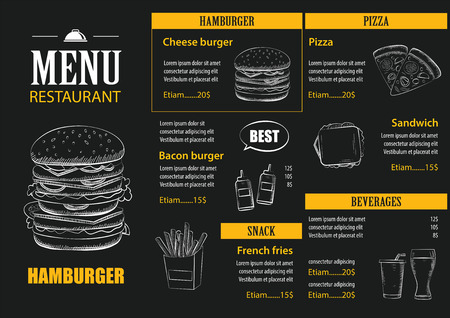 restaurant bar: restaurant cafe menu with graphic template flat design