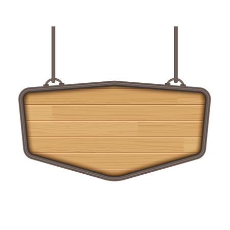 panneau en bois isolé sur fond blanc