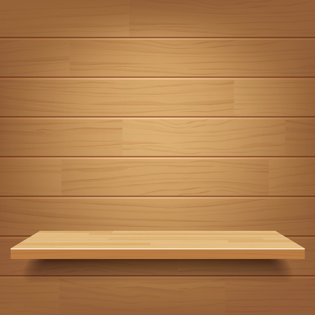 clean floor: empty wooden shelf on wooden wall background Illustration