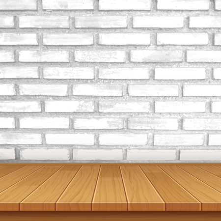 wood table: wood table top on brick wall background
