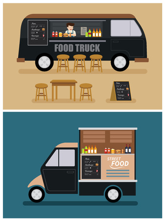 food truck flat design Illusztráció