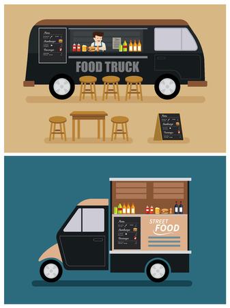 voedsel vrachtwagen plat ontwerp
